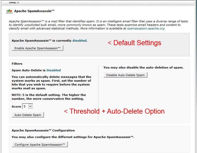 SpamAssassin Default Settings cPanel