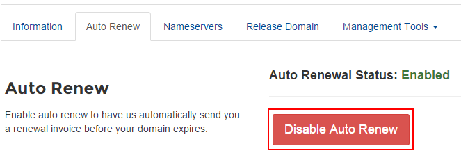 Disable Auto Renew on a Domain Name